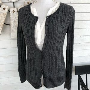 Old Navy Sweaters - Charcoal Grey Cable Knit Angora Cardigan Sweater